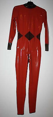 Latex Damen Catsuit in Medical Red - Transparent Smoke, Latex Jumpsuit, Anzug