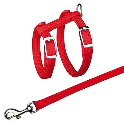 Trixie Nylon Metal Buckle Cat Harness + Lead Assorted Colours 4185