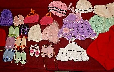 21pc  Lot Crocheted And Knit infant clothing items see photos, booties bonnets