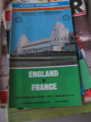 Programme & Ticket 6.4.1974 England v France Schools International @ Wembley