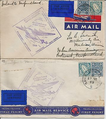 Two small 1939 Irish first flight covers Dublin to Newfoundland with cachets