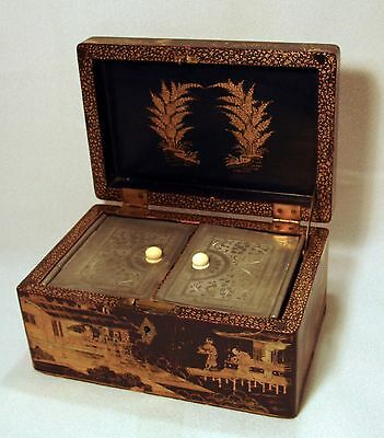 Antique Chinese Export Gold Gilt Lacquer Pewter Tea Caddy Or Box**wow!!