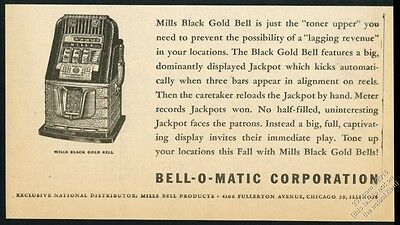 1946 Mills Black Gold Bell slot machine pic Bell-O-Matic vintage trade print ad