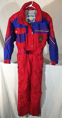 Vintage 80's Obermeyer Juliana Ski Jumpsuit Juniors 14 Color Block Insulated