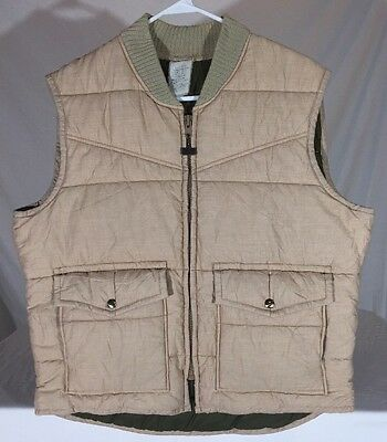 Vintage 80's Walls Blizzard-Pruf Quilted Vest Mens L Tan Knit Collar Made in USA