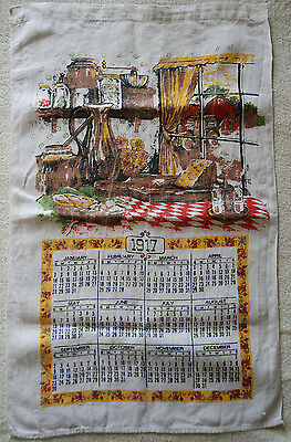 VINTAGE 100% LINEN  LARGE TEA TOWEL with 1917 YEAR CALENDAR