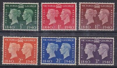 Gb Great Britain 1940 Stamp Centenary Set Never Hinged Mint