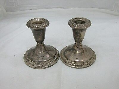 Vintage Empire Weighted Sterling Silver Repousse Scroll Candle Stick Holders