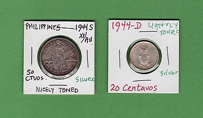 Philippines 1944-S XF/AU Fifty Cents Coin & an UNC 1944-D Twenty Centavo SILVER