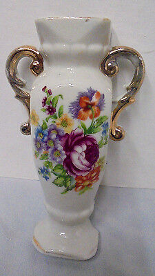 """Wall Pocket Vase With Handles Mixed Flowers Japan 6.25"""" Tall 3.5"""" Across Vintage"""