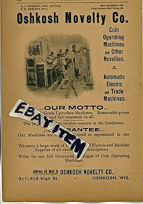 1901 AD Meeleus OSHKOSH NOVELTY CO Wisconsin COIN OPERATED MACHINES coin-op