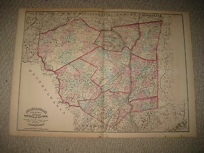 Antique 1871 Orange Putnam Dutchess Ulster Sullivan Delaware County New York Map