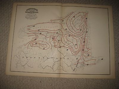 Antique 1871 New York State City Long Island Weather Meteorology Map Rainfall Nr