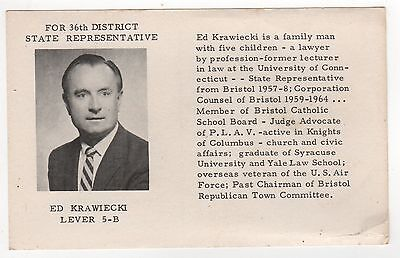 CONNECTICUT Political PC Postcard EDWARD ED KRAWIECKI Bristol CT State Rep