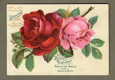 COSMO BUTTERMILK TOILET SOAP Trade Card 1880's - Red and Pink Roses