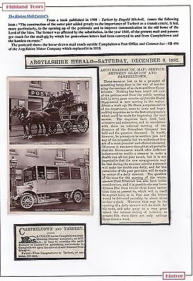 1916 Superb Rp Campbeltown Mail Coach & Motor Bus Outside Post Office Argyll