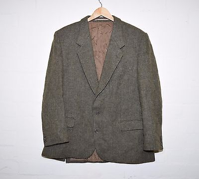 Vintage Green Harris Tweed Wool Blazer Traditional Jacket Chest 44