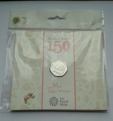 2016 BEATRIX POTTER Mrs Tiggy-Winkle 50p Fifty Pence Coin Royal Mint Pack