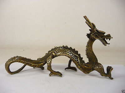 collectible old china handwork superb copper carved vivid dragon statue#2037