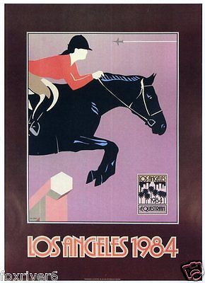 OLYMPICS Los Angeles 1984 Mini-Poster Summer Olympic Games Equestrian reprint