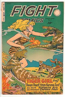 Fight Comics 2 - Tiger Girl Canadian Edition 1950's Comic Fiction House