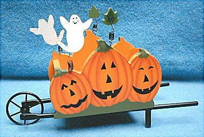 NEW Fall Halloween WHEELBARROW centerpiece HOLDS FLOWERS or Candy Wood & Metal