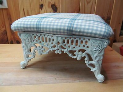 Victorian Cast Iron Footstool – Antique Restored or Reproduction Upholstered
