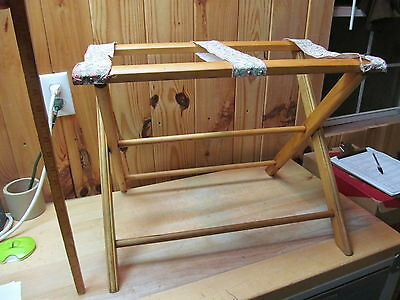 Vintage Blonde Wood Folding Suitcase Stand Luggage Rack Guest Room Decor