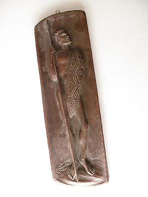 Australia F Rentz Aboriginal Hand Carved Wooden Wall Hanging - Free Postage