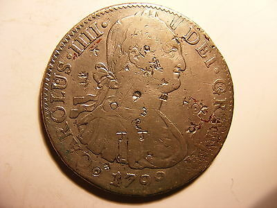 Mexico 8 Reales, 1799-Mo, Fine+ Details, Over 25 Chop Marks