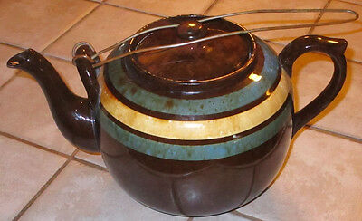 Extra Lg 12 Cup Ellgreave England Striped Brown Betty Teapot w/ Metal Lid Holder