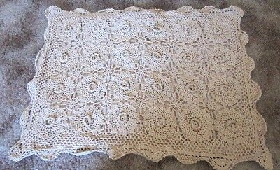 Vintage Tan Crochet Pillow Cover / Sham, 26 in. x 18 in.