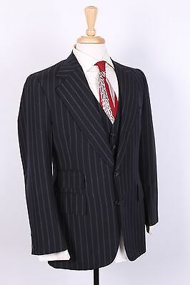 Vtg 70S Three Piece Wool Pinstripe Suit Mens Size 36-38