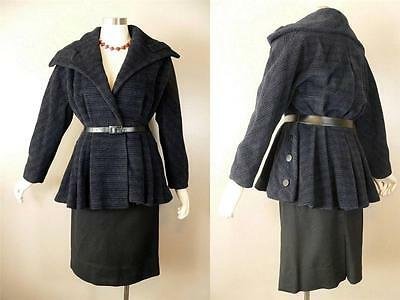 Vintage 1950s Swing Suit Dramatic Pleated Peplum S Striped Jacket Wool Skirt 35