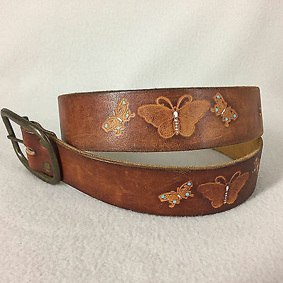 Vintage Leather Tooled Belt Painted Butterflies Size 32