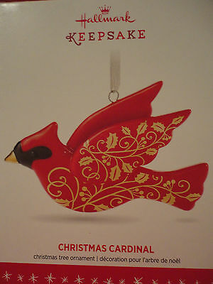 NEW Hallmark CHRISTMAS CARDINAL porcelain red and gold htf Ornament 2016