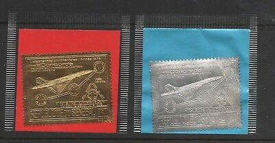 1976 SENEGAL GOLD & SILVER FOIL AIR MAIL CONCORDE AIRPLANE # C143a-b MNH CV$34