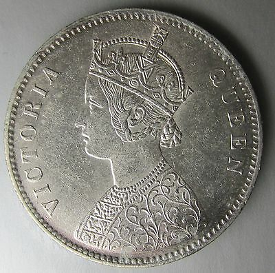 India, British, 1862 Silver Rupee, Victoria, Calcutta Mint