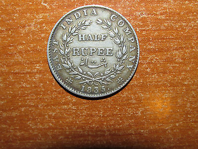 British India 1835. F incuse silver Half Rupee coin Very Fine nice KM 449.3