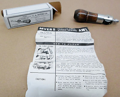 C. A. Myers Lock Stitch Leather Combination Sewing Awl With Box & Manual