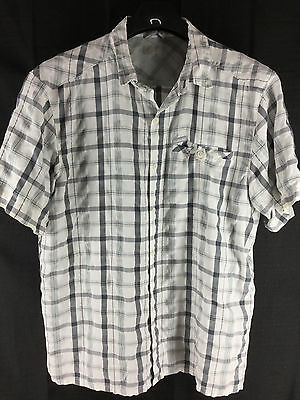 Mens Columbia Short-Sleeve White Gray Plaid Outdoor Casual Shirt Xl