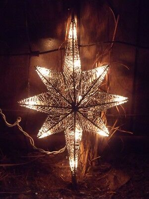 Christmas Silver Wire Lighted Bethlehem Nativity Star Tree Topper Top Decoration
