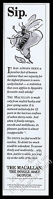 1997 The Macallan Scotch Whisky sipping bee art vintage print ad