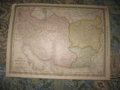 Superb Antique 1880 Persia Afghanistan Iran Iraq Middle East Map Superb Rare Nr