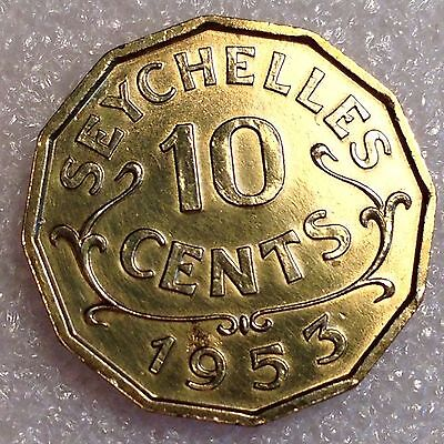 Seychelles 10 Cents 1953 Great Nickel-Brass Coin!