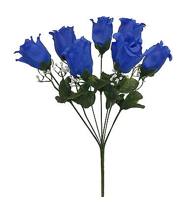 "7 Rose Buds ROYAL BLUE Silk Wedding Flowers Bridal Bouquets Centerpieces 17"" H"