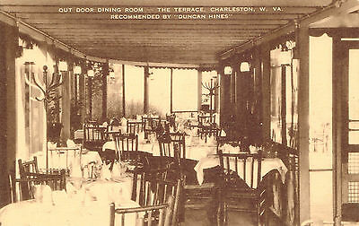 Vintage Brown Tone Postcard The Terrace Outdoor Dining Room Charleston WV New