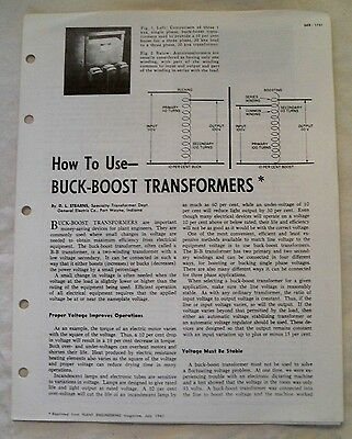 Vintage GE Brochure, How to Use BUCK-BOOST Transformers, 1962