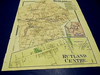 Antique 1870 map of Rutland  Ma by Beers.