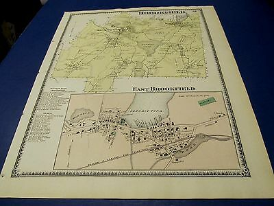 Antique 1870 map of Brookfield  Ma by Beers.